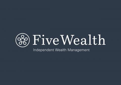 Five Wealth Logo White Strapline A5